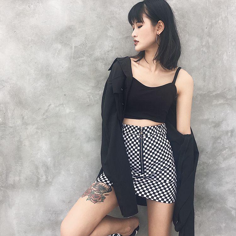 HTB1sElTRpXXXXX4XVXXq6xXFXXXw - FREE SHIPPING High Waist Mini Skirts Black White Checkerboard Plaid JKP240