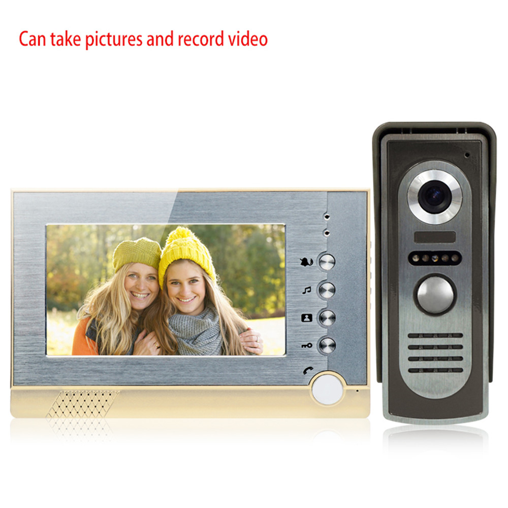 7inch Intercom Video Doorbell Wired Color Video Door Phone Monitor Screen With SD Card Function To Storage Video +1 IR Camera highquality 6 ir lamps wired intercom one to one video doorbell 7 inch display video door phone support microphone&speaker d126b
