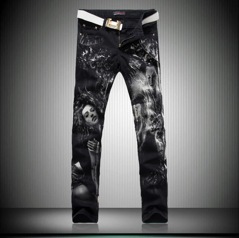 ФОТО Men's winter jeans Slim small straight Korean character printing men's jeans