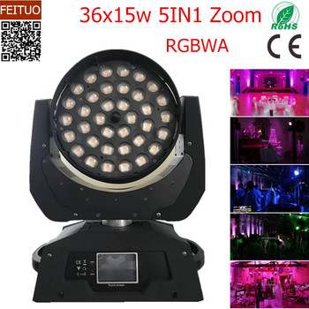 O- 2pcslot RGBAW 5IN1 Zoom 36x15w Led Moving Head DMX 16 Channels Stage Effect