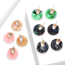 Big Circle Shell Acrylic Acetate Earrings Pendant Female Exaggerated Personality Hanging Drop Dangle Brincos 2019 New