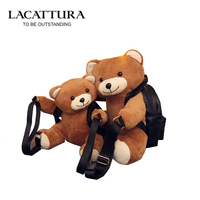 LACATTURA America Women Backpack Teddy Bear Plush Backpacks Soft Ted Bear Shoulder Bag Rucksack Men PU Leather Girl Bags Mochila