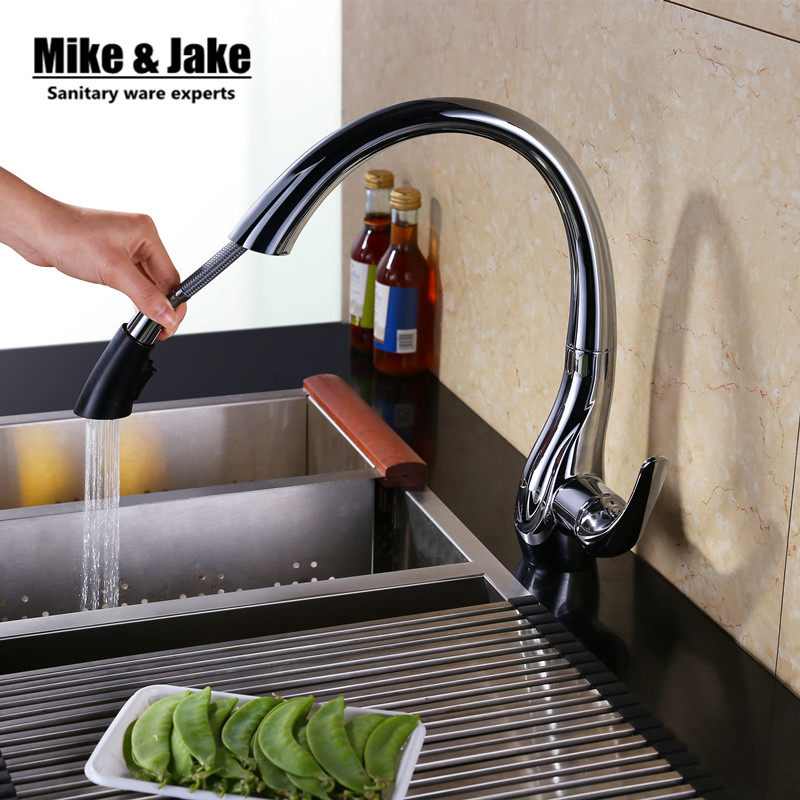 2015 smoked pull out kitchen faucet pull down sink swan faucet kitchen tap torneira cozinha kitchen mixer tap modern kitchen sink faucet mixer chrome finish kitchen double sprayer pull out water tap torneira cozinha rotate hot cold tap