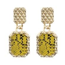 ECODAY Imitation Snake Skin Print Earings Drop Earrings for Women Pendientes Mujer Oorbellen Big Statement Earrings Jewelry недорого