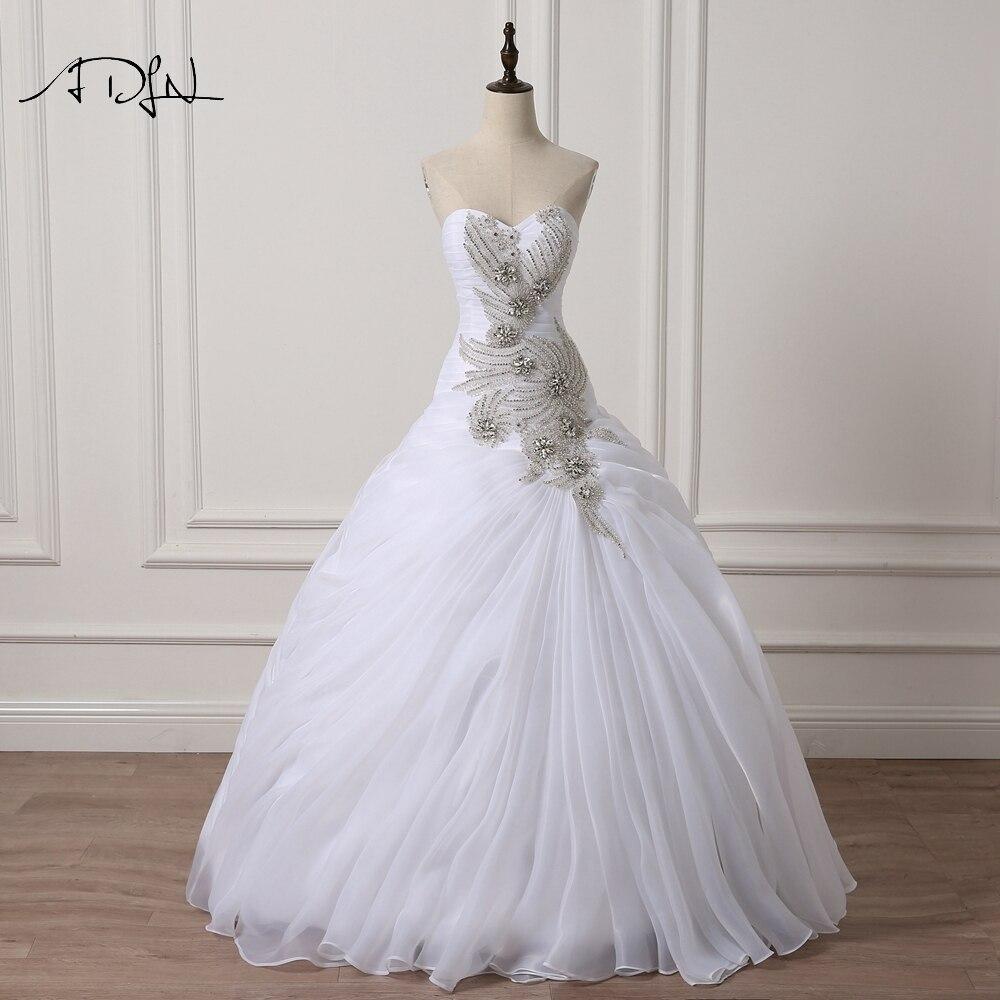 ADLN De Luxe Robes De Mariée avec Strass Chérie Sans Manches robe de Bal En Organza Custom Made Robe De Mariée Blanc/Ivoire