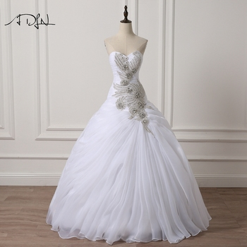 Adln Luxury Wedding Dresses With Rhinestones Sweetheart Sleeveless Ball Gown Organza Custom Made Bridal Gown White Ivory Leather Bag