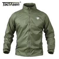 TACVASEN Men Waterproof Tactical Jacket Summer Breathable Thin Raincoat Military Thin Windbreaker Army Skin Jacket TD