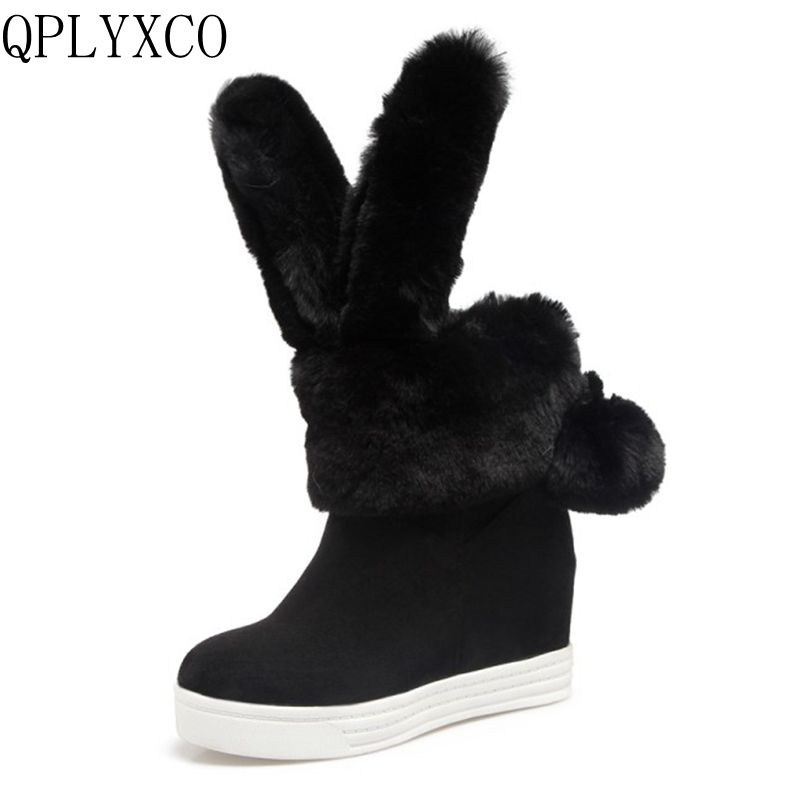 QPLYXCO Big Size 34-43 Russia shoes Woman Winter Plush Warm Snow Boots Sweet  Botas Women shoes Round Toe high hells Shoes H9 doratasia big size 34 43 women half knee high boots vintage flat heels warm winter fur shoes round toe platform snow boots