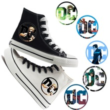 Printing Justice League Hero Cool Cartoon LOGO high top breathable canvas uppers sneakers student personali fashion Casual shoes printing justice league hero cool cartoon logo high top breathable canvas uppers sneakers student personali fashion casual shoes