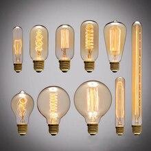 Ретро Edison led светильник лампочка E27 220 В 40 Вт ST64 T10 T45 T300 G95 нити Винтаж ампулы лампа накаливания Эдисона лампа подвесной светильник s