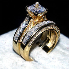 choucong jewelry Luxury 7*7mm Princess-cut 15ct 5a zircon 2-in-1 ring 14KT yellow gold filled Wedding Band Ring finger for Women