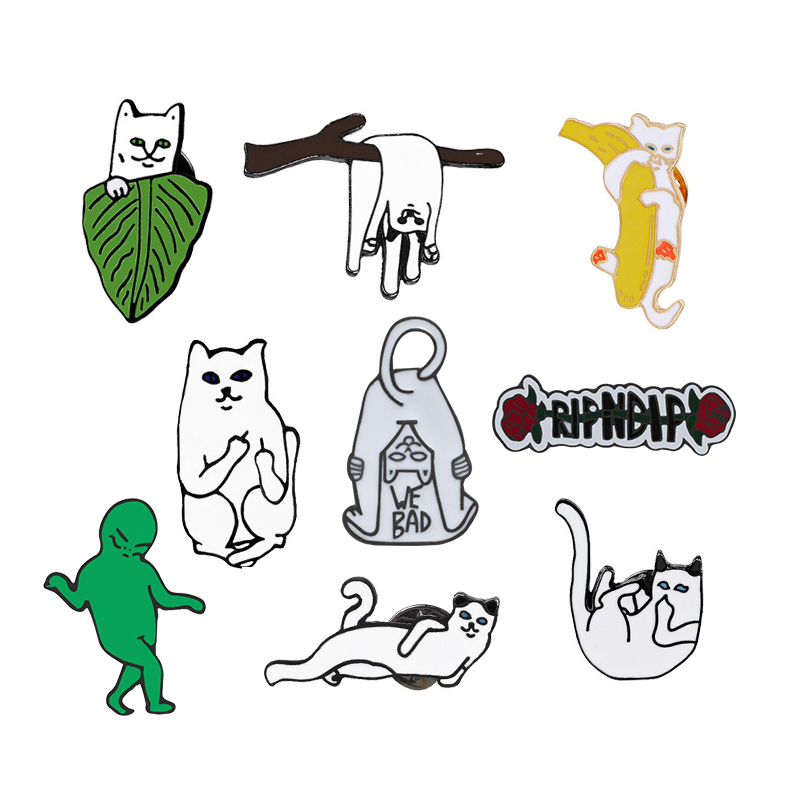 New Fashion Cartoon Funny Spoof Cactus Cat Pins And Brooches Pin Badges Hat Backpack Accessories Lovers Jewelry Gift Elegant And Sturdy Package Arts,crafts & Sewing Badges