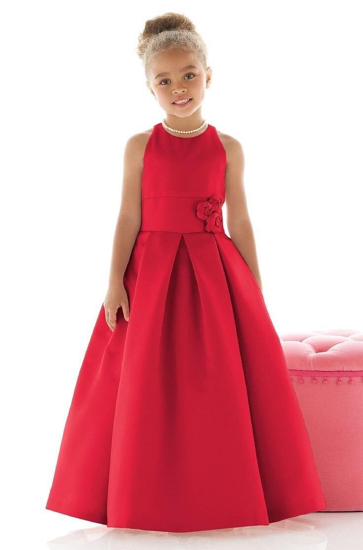 2019 Satin une ligne longueur de plancher à la main fleur fille robes pour mariage sans manches drapée petite fille robe