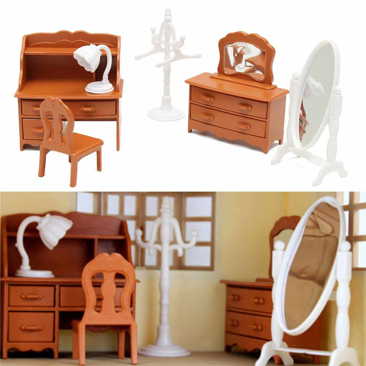 Miniature Living Room Dressing Table Furniture Sets For Mini Children DollHouse Home Decor Kids Toy Doll House Toys Gift