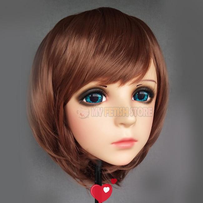 feng-02 Costumes & Accessories female Sweet Girl Resin Half Head Kigurumi Mask With Bjd Eyes Cosplay Japanese Anime Role Lolita Mask Crossdress Doll