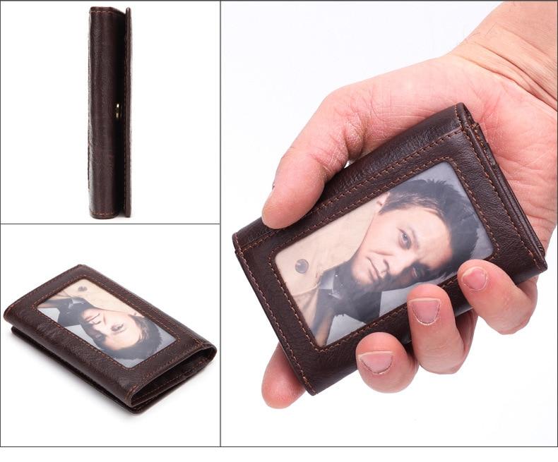 Äkta Läder Män Vintage Hasp Mini Plånböcker Olje Wax Läder Kort - Plånböcker - Foto 2
