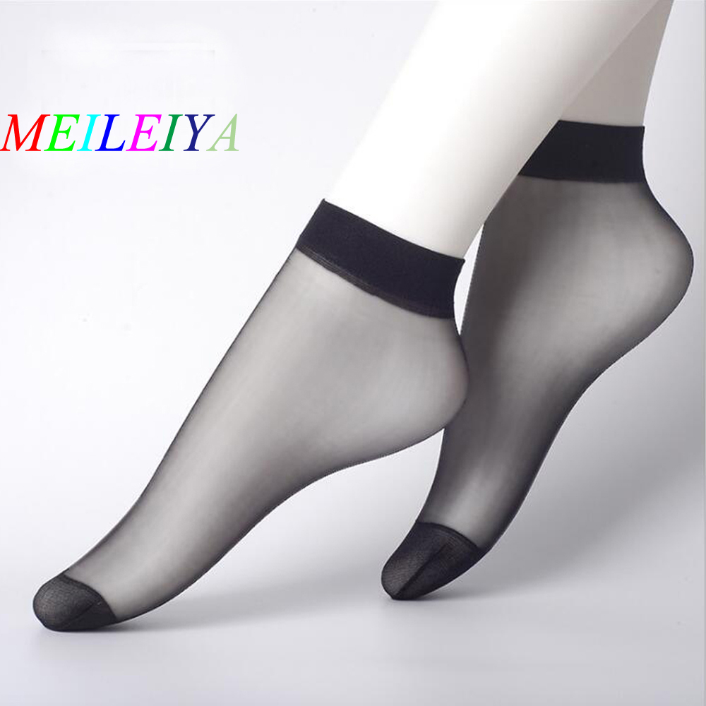 MEI LEI YA 10 Pairs / Lot Crystal Silk Women's Socks Rayon Socks Ultra-thin Anti-Hook Transparent Invisible Socks Shallow Socks