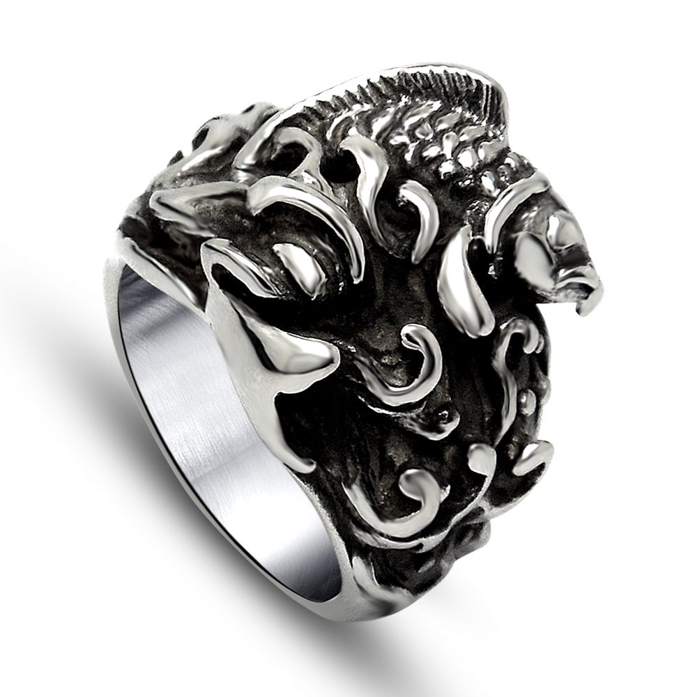 Top Sale Men's Jewelry,Punk Ethnic Style Biker 316L Stainless Steel Retro Embossed Fish Rings,Free Shipping