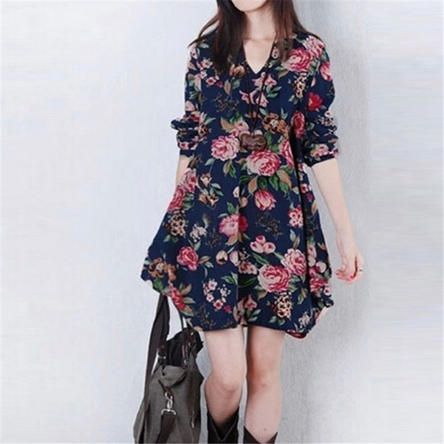 New Autumn Winter 2018 Fashion Women Vestidos Floral Print Linen Dress  Casual Loose Long Sleeve V