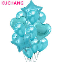 1Set Tiffany Blue Balloon Bouquet Star Heart Foil Latex Globos Helium Inflatable Baby Shower Wedding Birthday Party Decorations