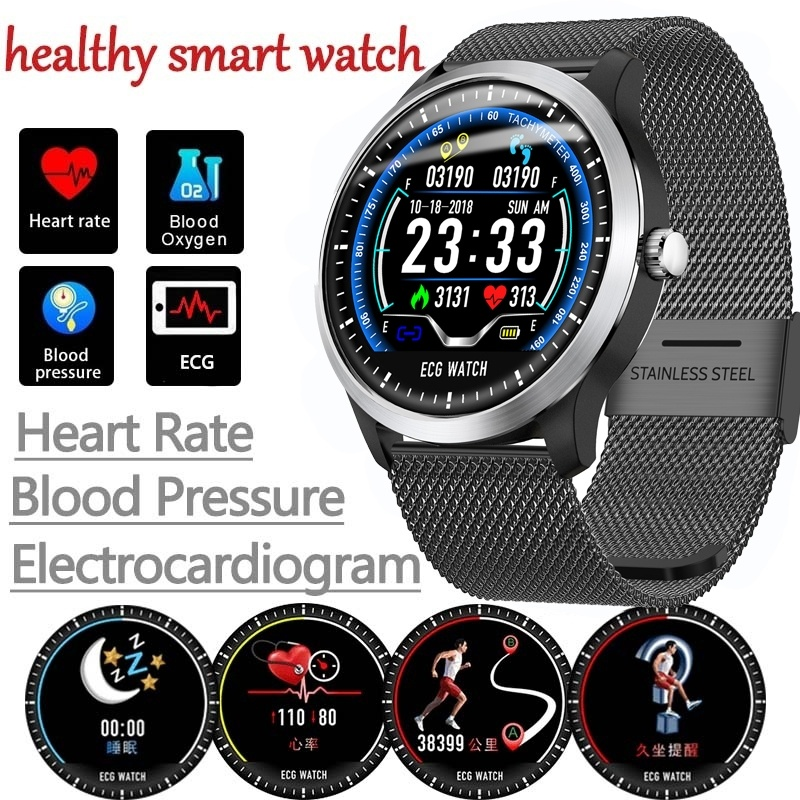Digital Watches Men's Watches N58 Ecg Ppg Smart Watch With Electrocardiograph Ecg Display Heart Rate Monitor Blood Pressure Mesh Steel Smartwatch Beautiful In Colour