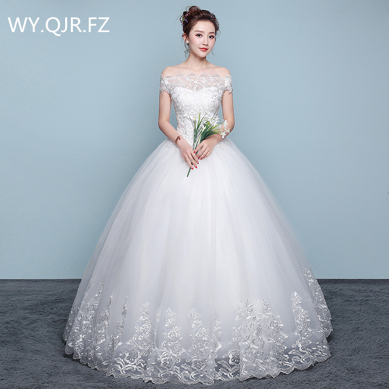 XXN070 Ball Gown Boat Neck plus size lace up white wedding dress Embroidered Lace on Net