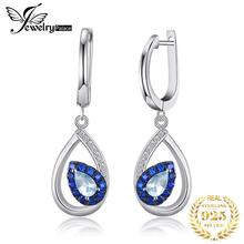 JewelryPalace Fashion 1.7ct Natural Sky Blue Topaz Hoop Earrings For Woman Real 925 Sterling Silver Vintage Fine Jewelry Gift недорого