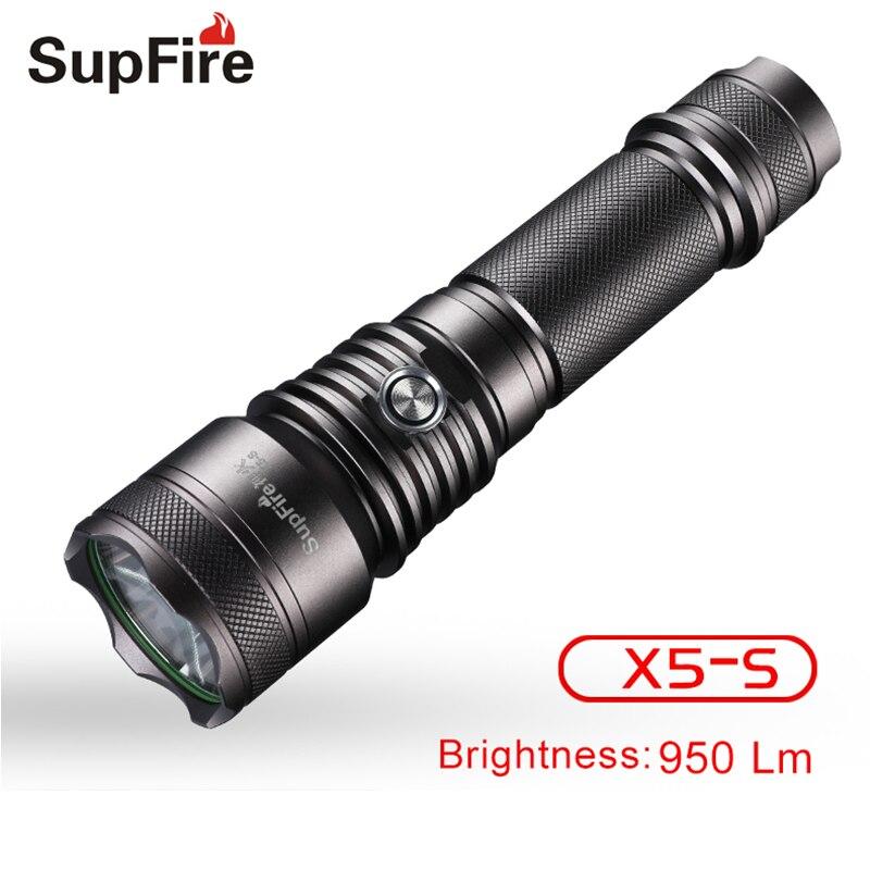 Lampe de poche Lanterne Led Torche Supfire X5-S Lanterna Flash Lumière pour Nitecore Sofirn Fenix Convoi Tactique Zaklamp El Feneri S118