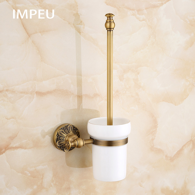 Antique Novelty Design Brass Toilet Brush Holder Bathroom Accessories Antique Bronze finish European Hotel Cellection