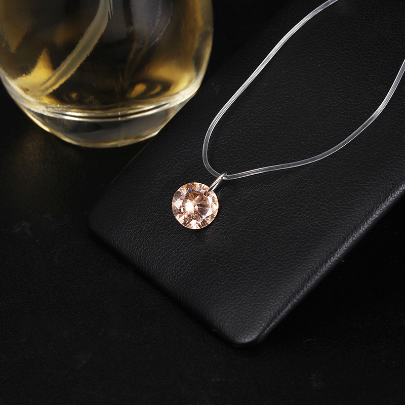 2018 New Fashion Simple Crystal Pendant Necklace For Women Cheap Transparent Fishing Line Neck Jewelry Wholesale Necklace