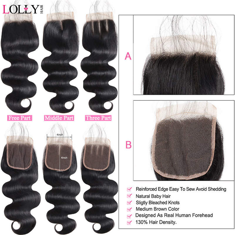 Lolly Hair 3 Bundles Body Wave With Lace Closure Peruvian Hair Bundles with Closure Non Remy Human Hair Bundles With Closure