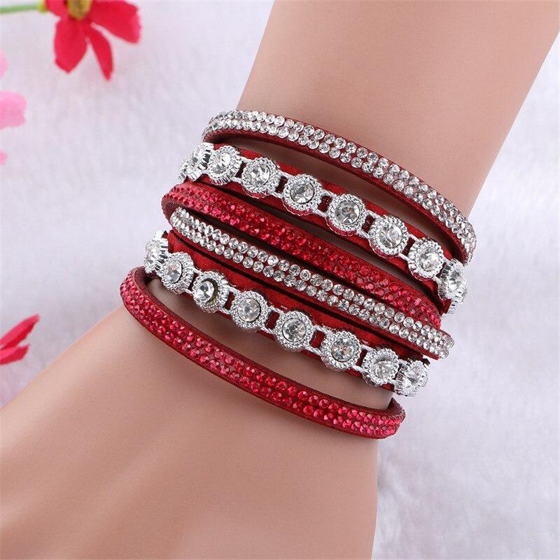 DIEZI Pulseira Feminina Bracelets & bangles Women Multilayer Rhinestone Leather Bracelet Crystal Braclet 2016 Fashion Jewelry