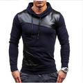 2017 New Brand  Men Tracksuits Men Fashion Leather Patchwork Sweatshirt Slim Fit Mens Hoodies And Sweatshirts