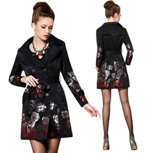 2017 Hot Sale Woman Windbreaker Floral Trench Coat Rose Jacquard Embroidered Long Trench Coat TR061