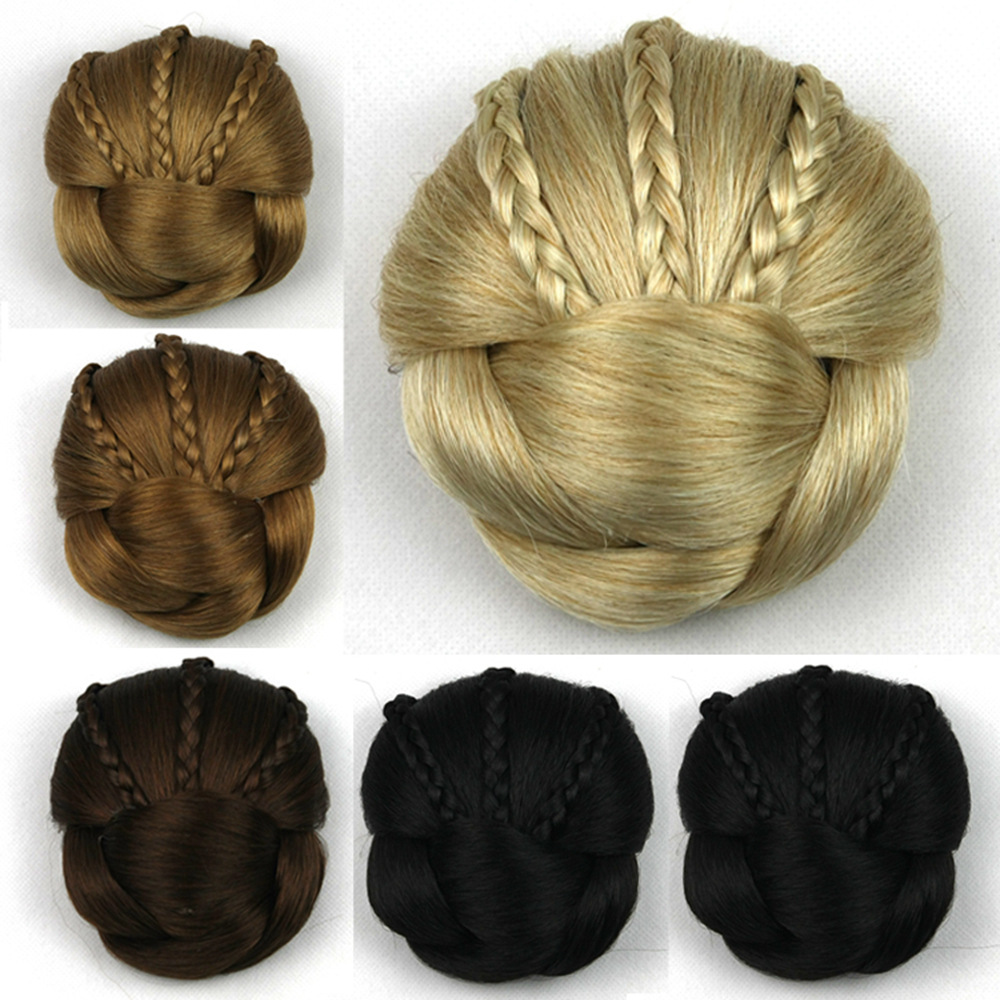 Synthetic Hair Hairpiece Braided Fan Delicate Bun to Elegant Prom Updo Hairstyle for Medium Long Simple to Wear 1PC Sale