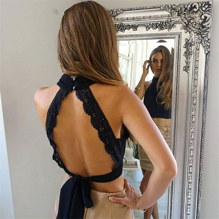 Summer 2017 Sexy Backless Black Lace Women Tank Tops Girls High Neck Elegant Halter Tops Party