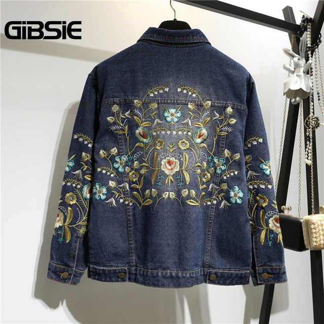 18b1672adc1 GIBSIE Plus Size Women Clothing 5XL 4XL XXXL Flower Embroidery Denim Jacket  Women Casual Outwear Single Breasted Jeans Coat