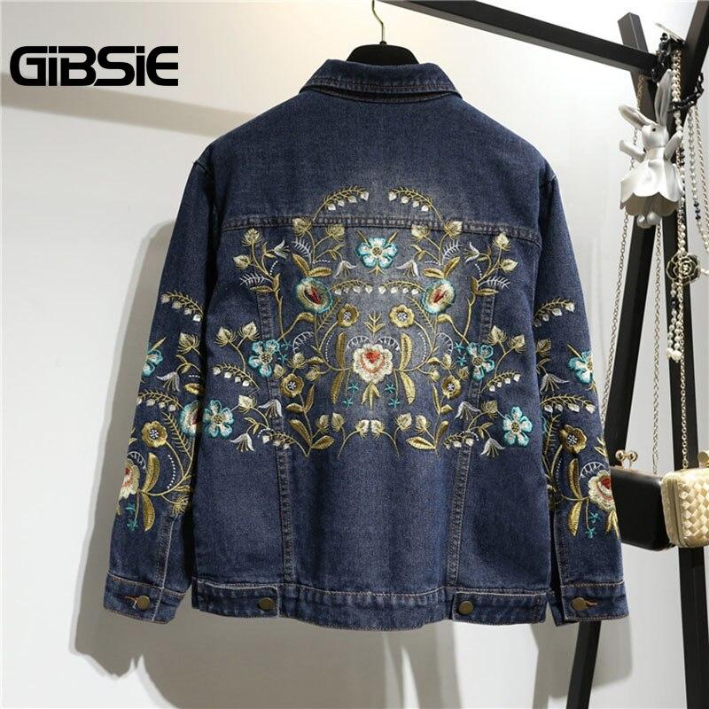 GIBSIE Plus Size Women Clothing 5XL 4XL XXXL Flower Embroidery Denim Jacket Women Casual Outwear Single Breasted Jeans Coat