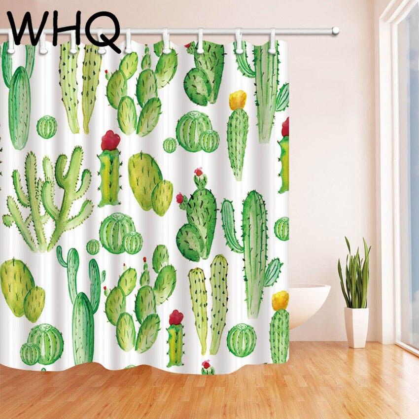 Green Shower Curtain Cactus Banana Leaves Print Waterproof Bath