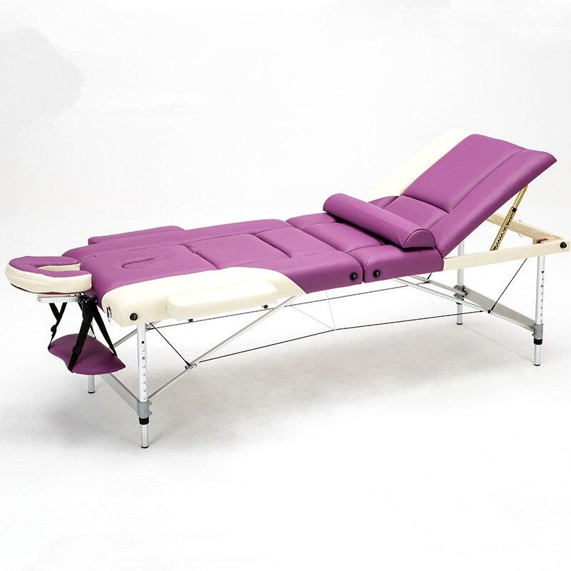 3 Fold 70cm Wide Portable Aluminum Spa Massage Tables Foldable Salon Furniture Folding Massage Bed Tattoo Beauty Table Massage portable massage bed beauty equipment manufacturer