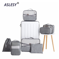 Travel Suitcase Organizer Clothes 7Pcs Underwear Shoes Sorting Bag Folding Cosmetics Makeup Pouch Cube Tote Luggage Accessories