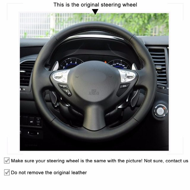 Black Artificial Leather Car Steering Wheel Cover For Infiniti FX FX35 FX37  FX50 Nissan Juke Maxima 2009 2014 Sentra 2016 2017