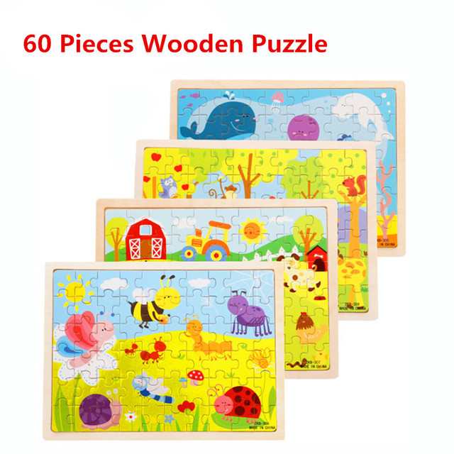 Hot Selling 60 Pieces Wooden Puzzles Kids Educational Toys DIY Jigsaw Puzzle For Children Adults