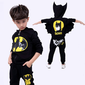 цена на Batman Baby Boys Clothing Sets Zip hooded Sport Suit For Boys Cartoon Jacket Coat Pants Batman Cosplay Costumes Kids Clothes set