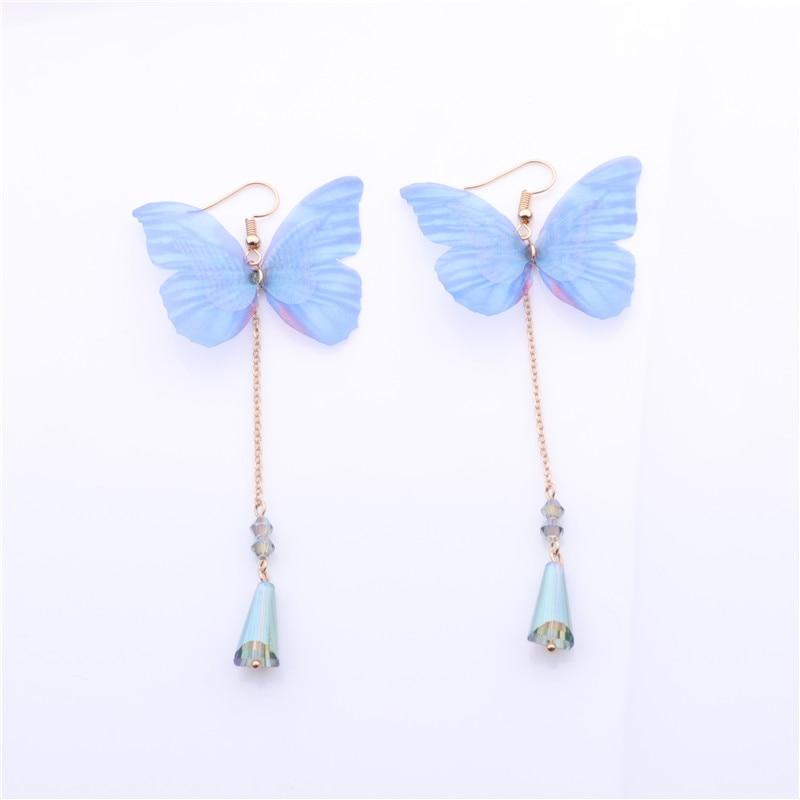 2018 New Ethereal Butterfly Drop Earrings Pendant For Girl Charm Jewelry Rhinestone Joker Eardrop Long Chian Tassel Brincos