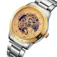 Tevise marca de relógios dos homens de máquinas Automáticas esqueleto masculino homem cinta de aço relógio de pulso À Prova D' Água