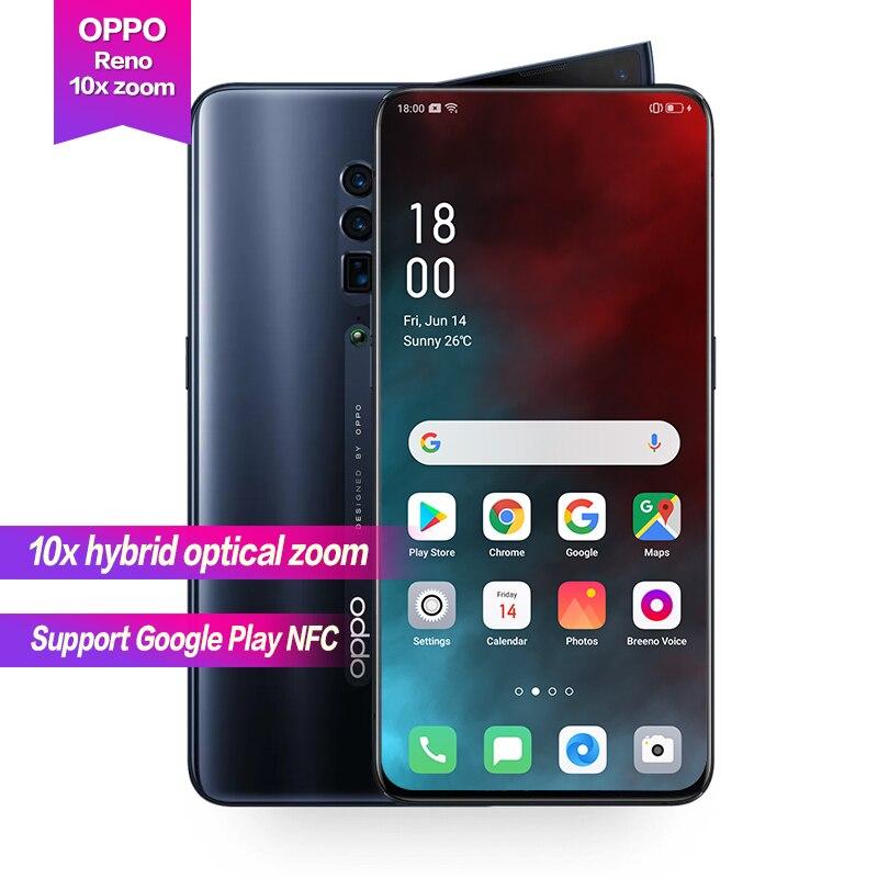 OPPO Reno 10x zoom 6,6 Soporte de pantalla completa cámara de rotación lateral NFC Super VOOC Octa Core 48MP + 13MP + 8MP 4065mAh ID de huella digital