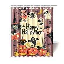 Aplysia Custom Happy Halloween Wolfman Spooky Vampire And Witch Bathroom Waterproof Fabric Shower CurtainChina
