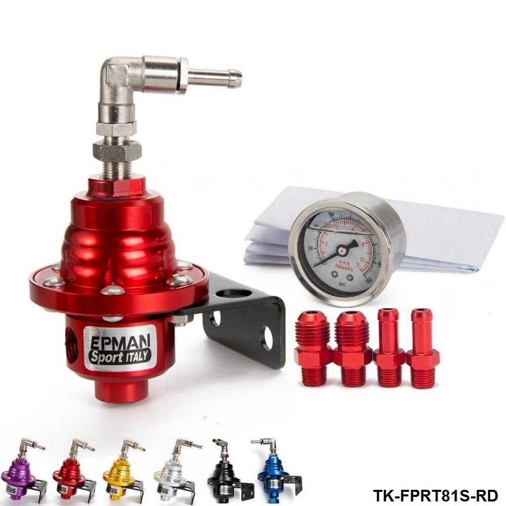 Adjustable Superior Fuel Pressure Regulator With Filled Oil Gauge Aluminum Blue