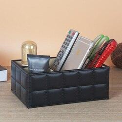 A ESTRENAR clásico PU cuero Escritorio de oficina Set Mesa accesorios organizador estuche cosmético Romote caja de almacenamiento Pen Holder